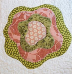 Fused and Stitched Rose block