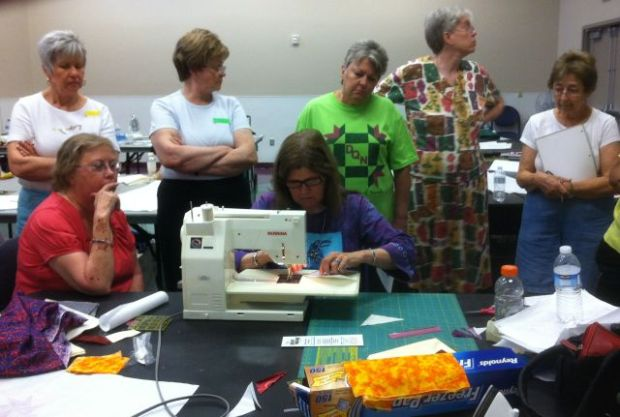 Gail on Christa's Bernina