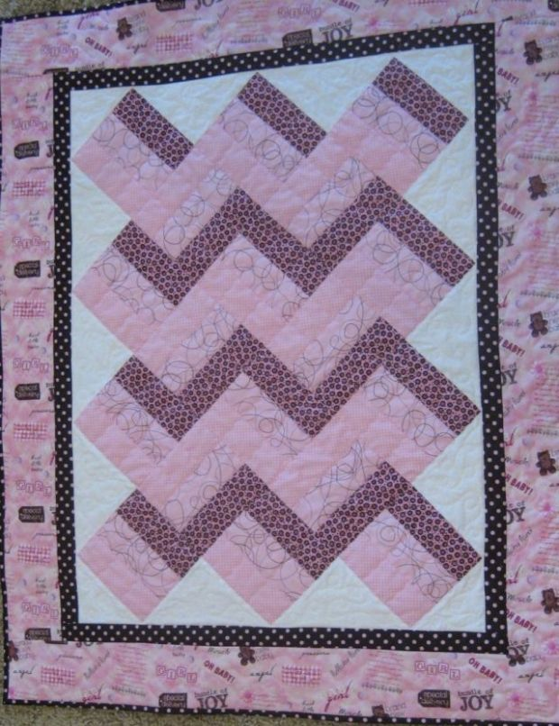 Pink & Brown Baby Quilt