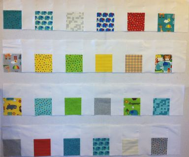 Rows of Charm Pack Blocks