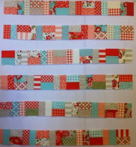 Pieced Jelly Roll Strip Rows