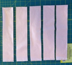 Cut 5 strips 2 1/4 Inches Wide