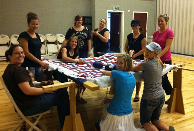 Tying our Wounded Warrior Quilt