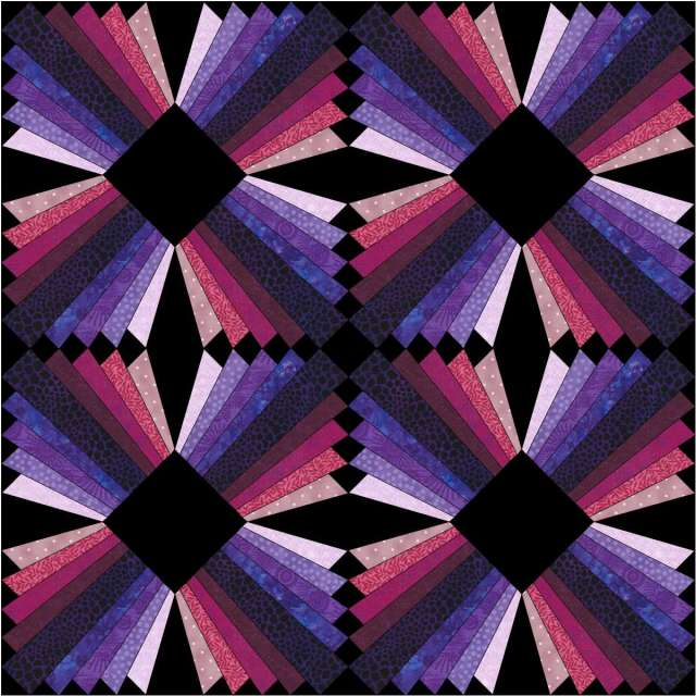 Quilt with Pink and Purple -Hued Dresden Blocks