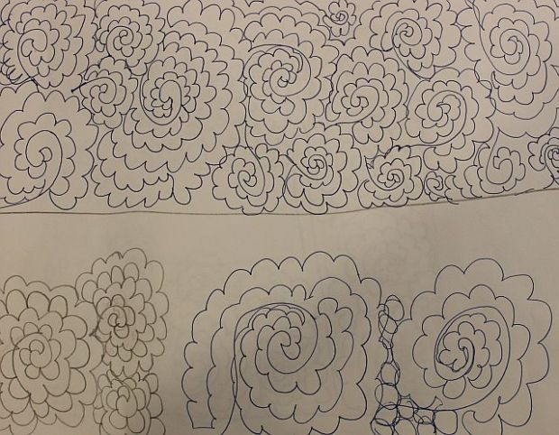 Practice Drawing for free motion quilting