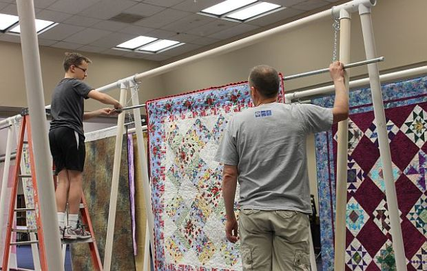 Hanging the Quilts