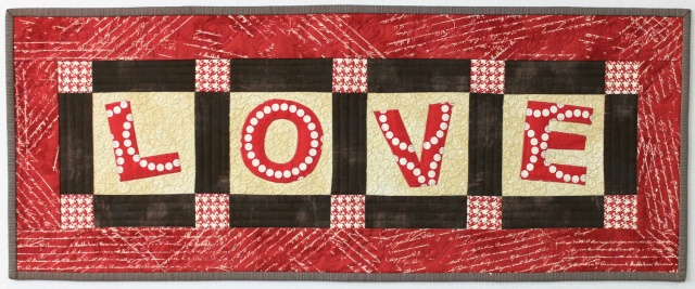 """Love"" - Quilted Table Runner by Christa Watson"