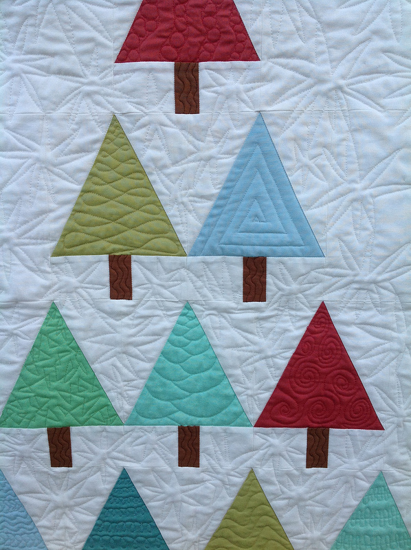 Modern Trees Quilting Detail