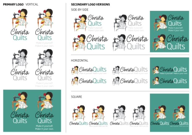 The final variations of the logo include 4 sizes, all in color, b&w and reverse options. This provides Christa with flexibility to use the logo in virtually any application.