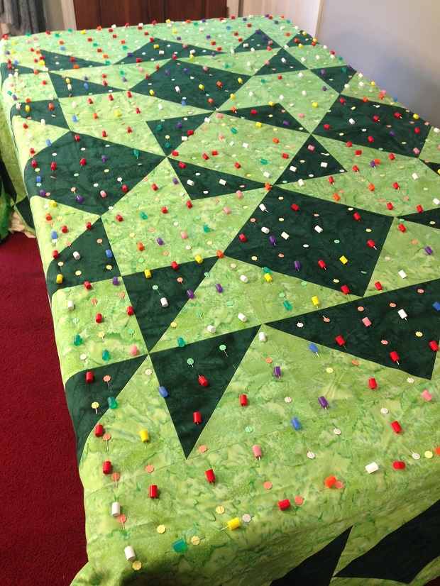 basting king sized quilt