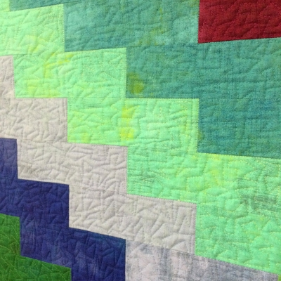 jagged stipple free-motion quilted by Christa Watson on Rainbow Zigzags