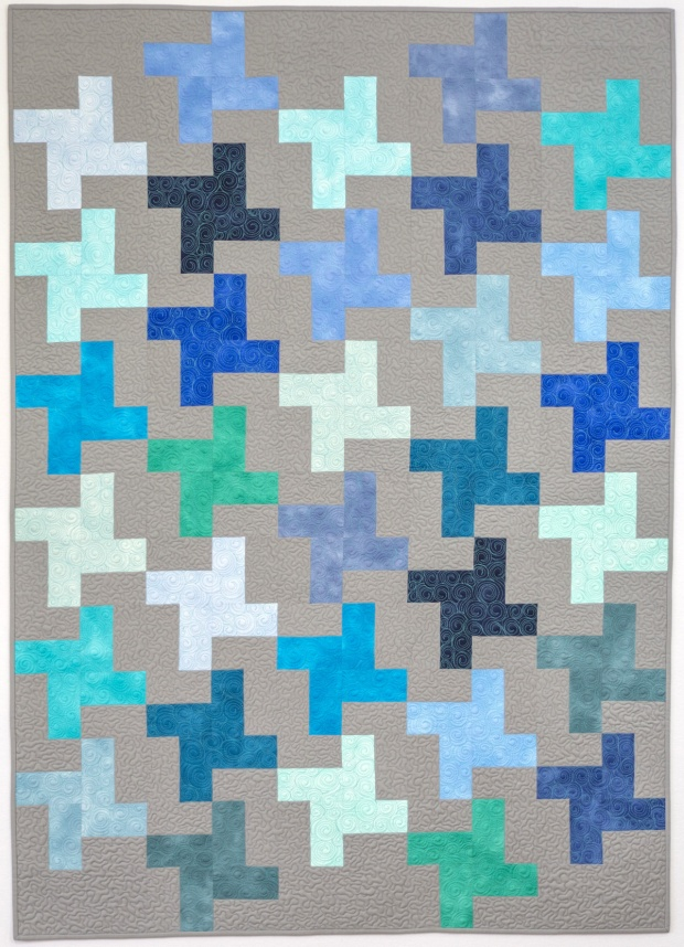 Finished Teal Pinwheels quilt