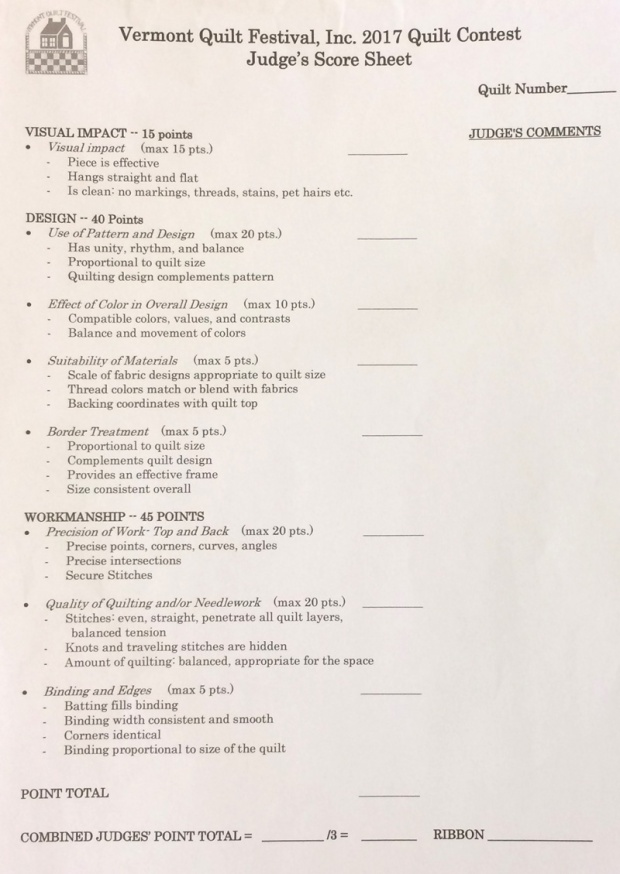 Example Judging Sheet for VQF