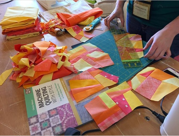Student work on Facets from Machine Quilting with style by Christa Watson