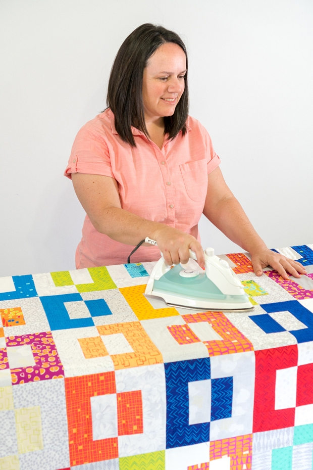 Press the spray basted quilt