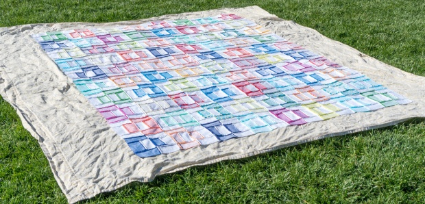 Spray baste the quilt top