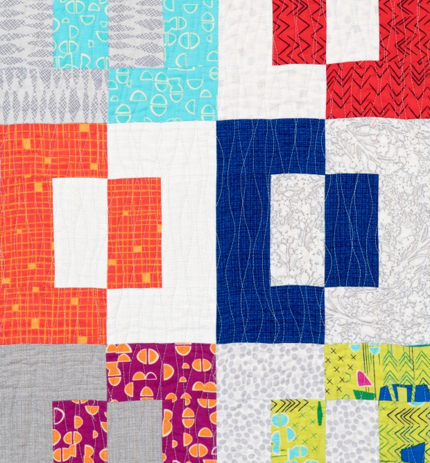 Modern Puzzle Quilting Detail
