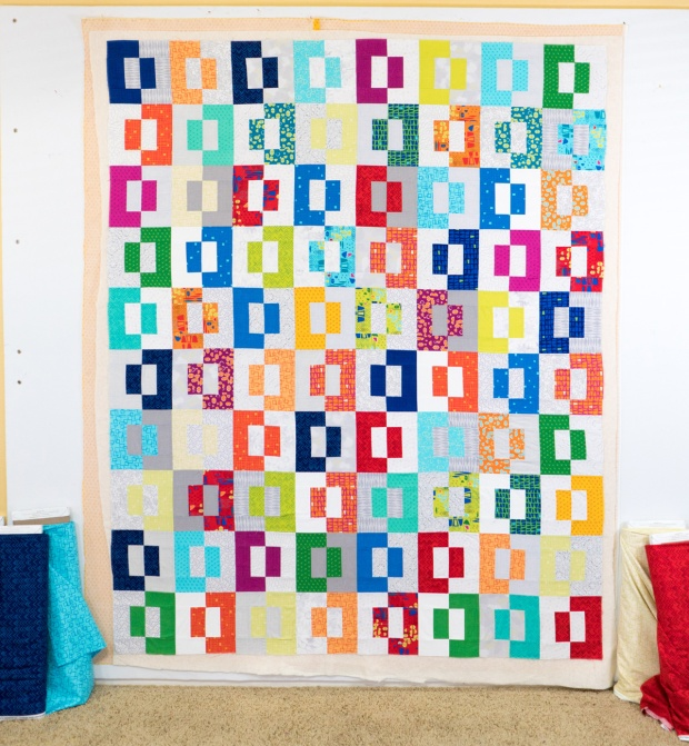 Wall Basting Quilt Tutorial for Modern Puzzle Free Quilt Pattern