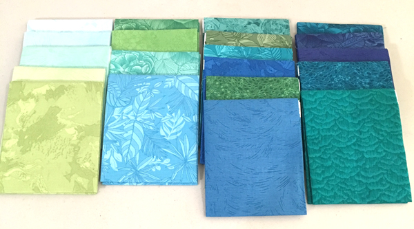 Fat Quarters in Blues and Greens