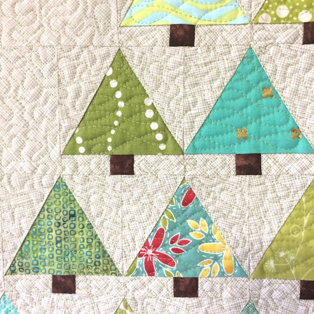 Machine Quilting Detail on Tiny Trees