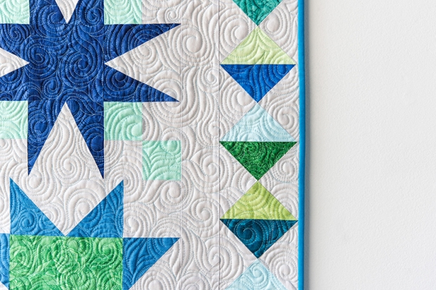 Swirls quilting on Starry Path Quilt by Christa Watson