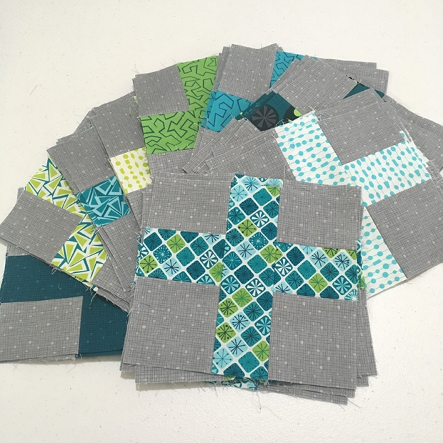 Surplus Strips Blocks Fandangle Fabric cool colorway