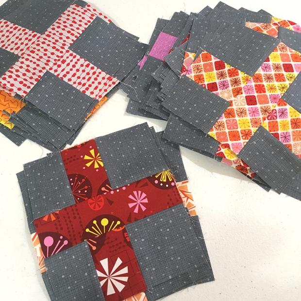 Surplus Strips Quilt Block Warm Colorway of Fandangle