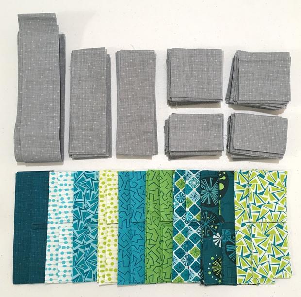 Surplus Strips Fandangle Fabric Cool