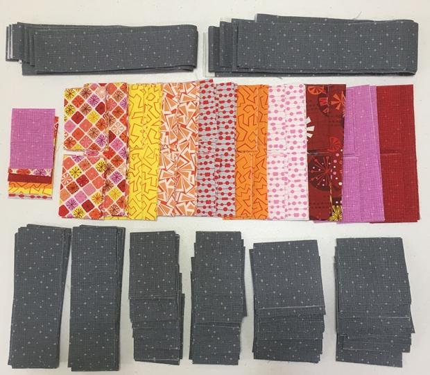 Surplus Strips Quilt Warm Colorway of Fandangle