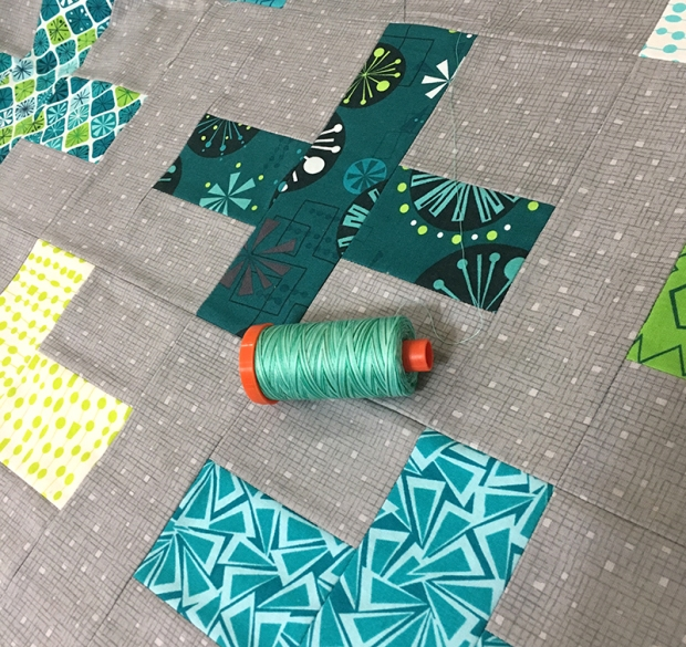 Aurifil Creme De Menthe on Surplus Strips