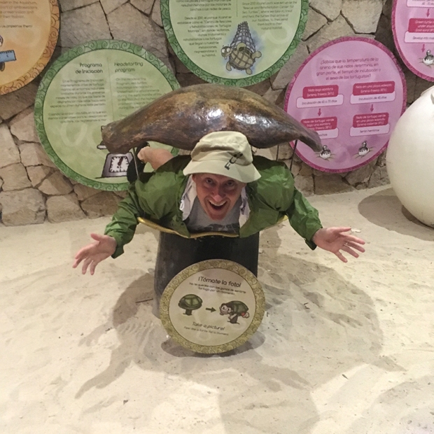 Jason hamming it up in the Sea Turtle exhibit
