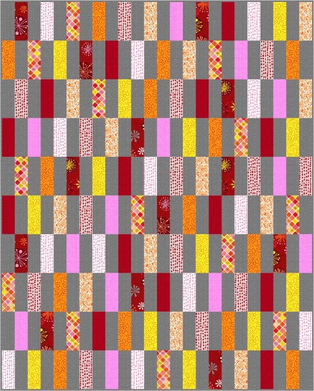 Simple Strips in Warm colorway of Fandangle