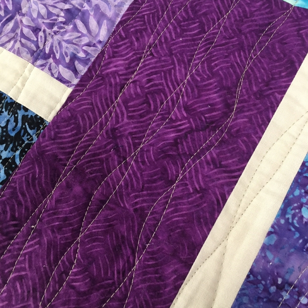 walking foot quilting detail on stepping stones