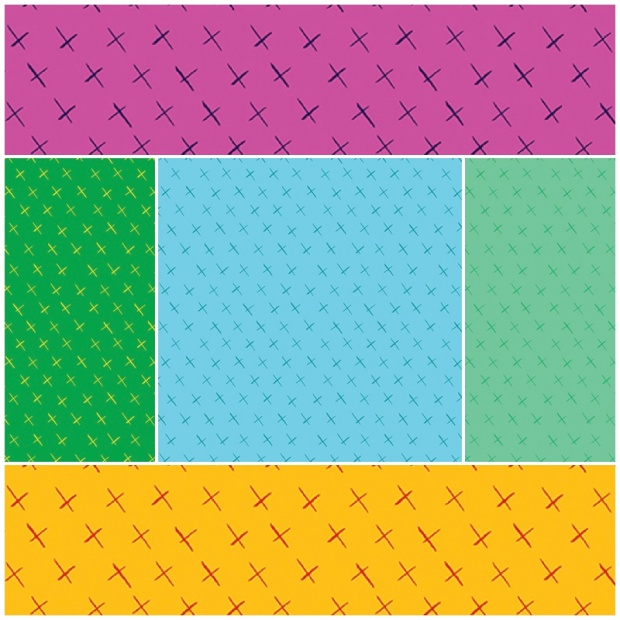 Modern Marks Fabric Crossmarks Print by Christa Watson