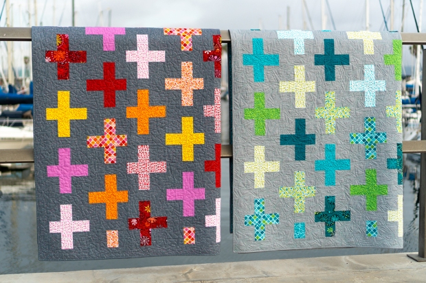 Surplus Strips quilts in warm and cool, made with Fandangle fabric by Christa Watson