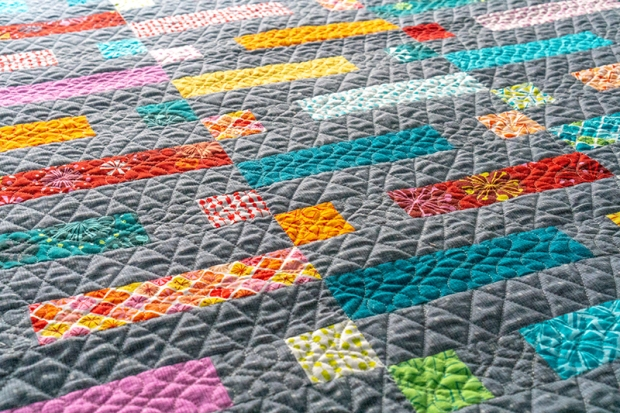 Free Motion quilting on Dot n Dash by Christa Watson