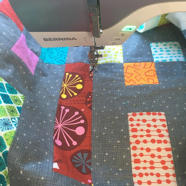 Stitching in the Ditch on Dot n Dash Quilt