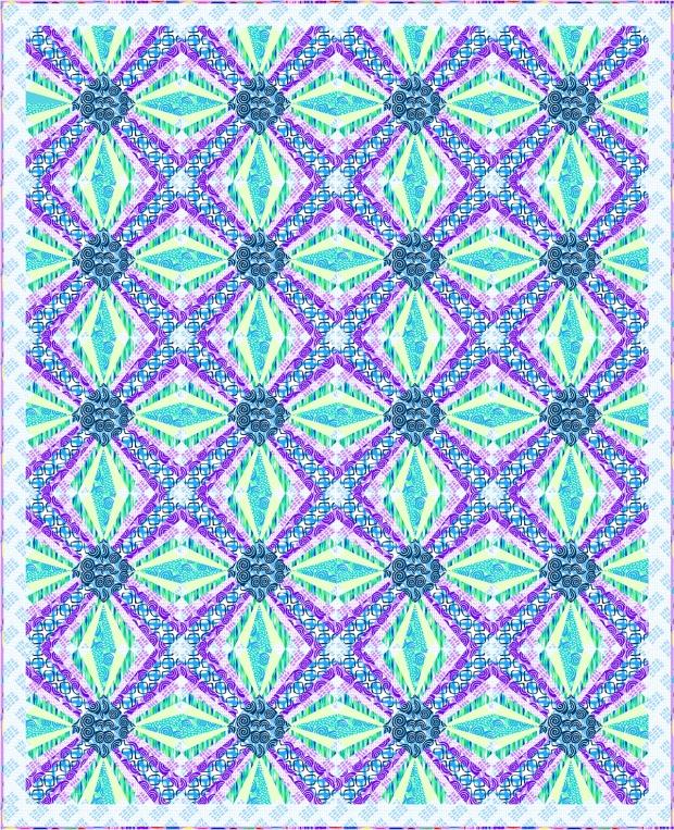 Pieced Primrose EQ design in cool