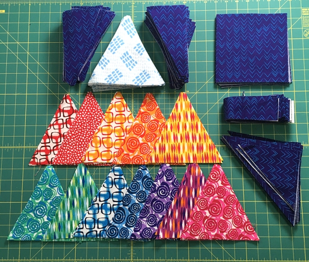 Cut Pieces for Blooming Wallflowers Quilt