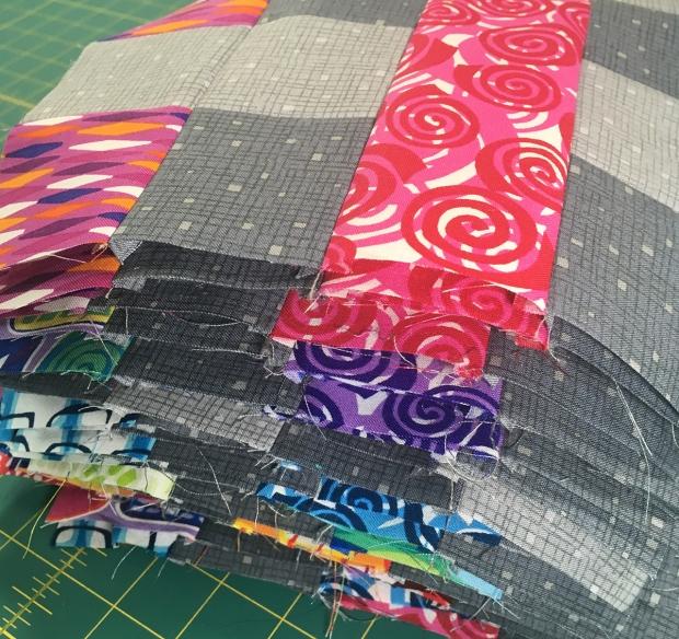 Rainbow Weave blocks in progress