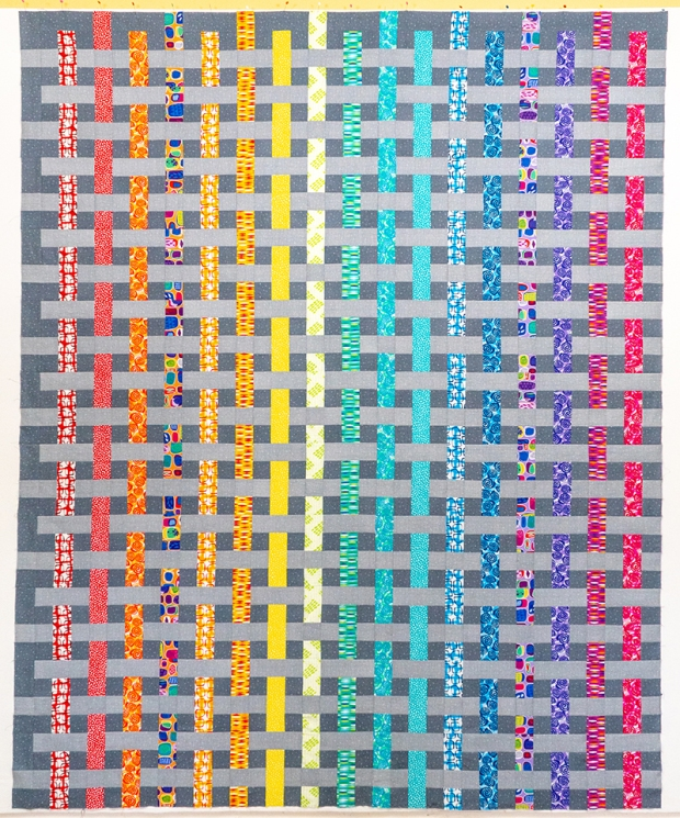 Rainbow Weave Quilt Top by Christa Watson