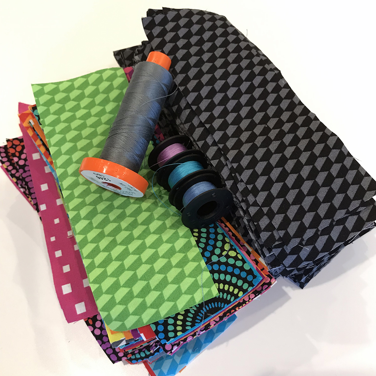 Aurifil Thread and Geo Pop fabric