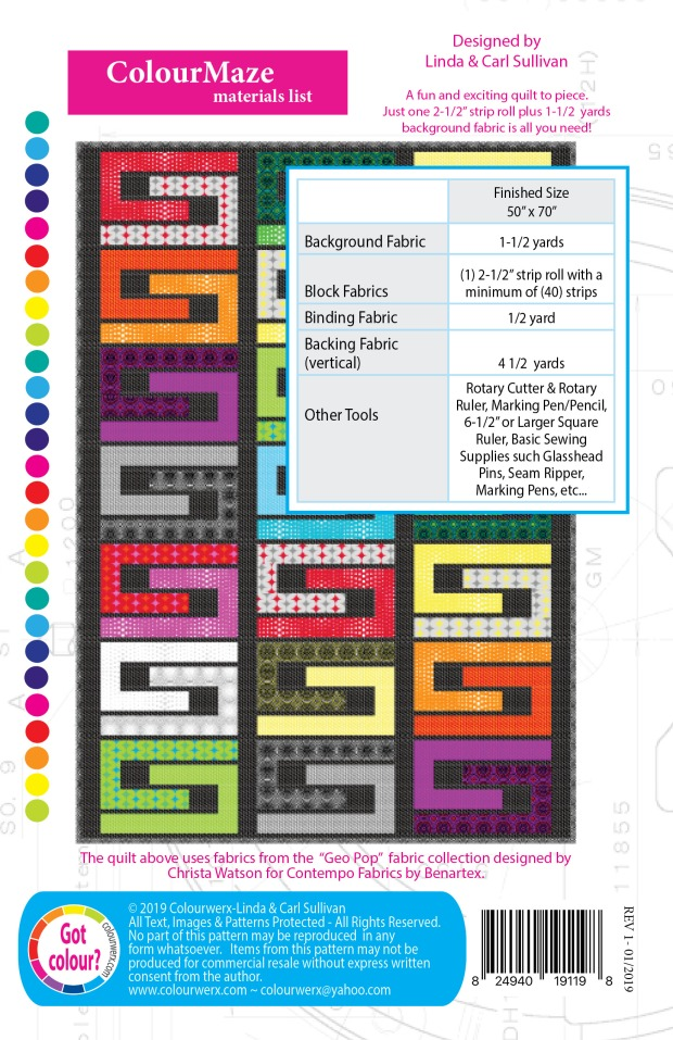 Colour Maze with Geo Pop fabric