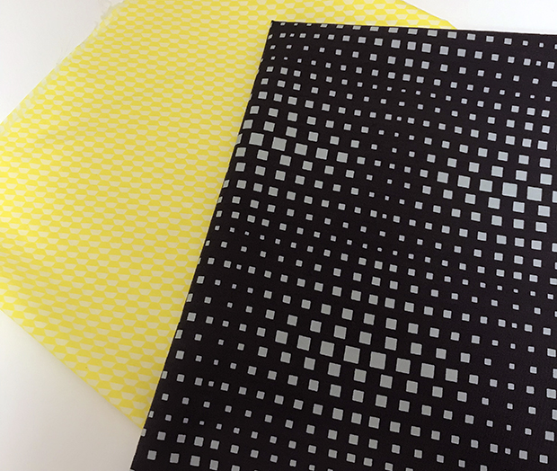 Geo Pop fabric yellow black