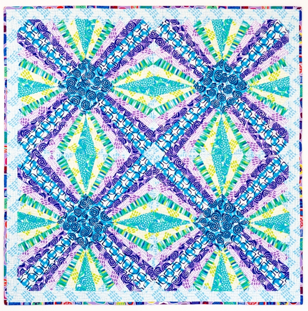 Pieced Primose Quilt Abstract Garden Cool