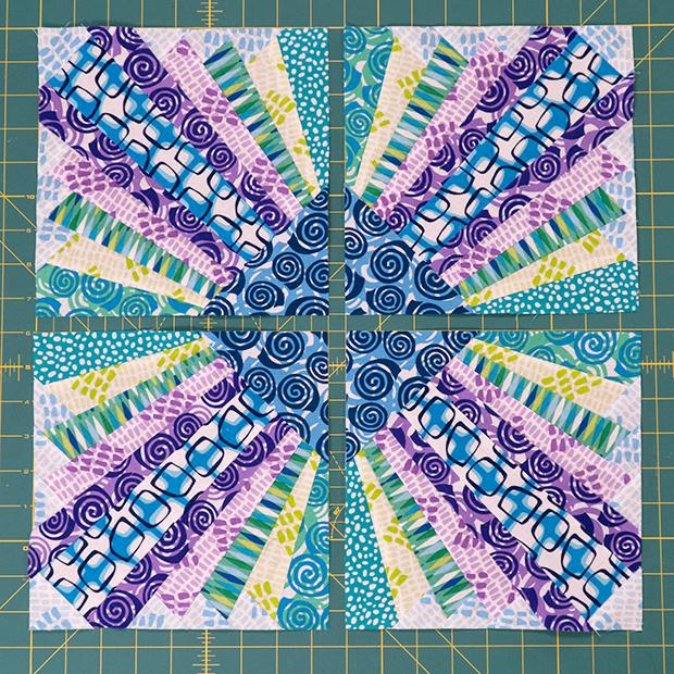 Pieced Primrose blocks cool colorway