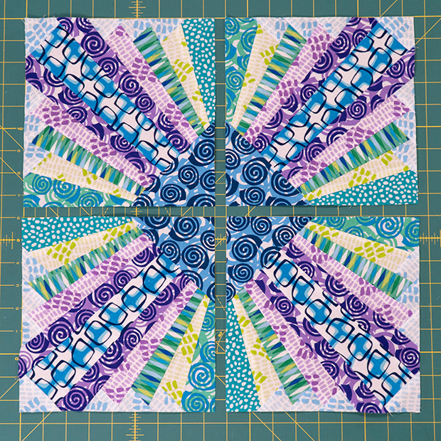 Pieced Primrose blocks cool colorway